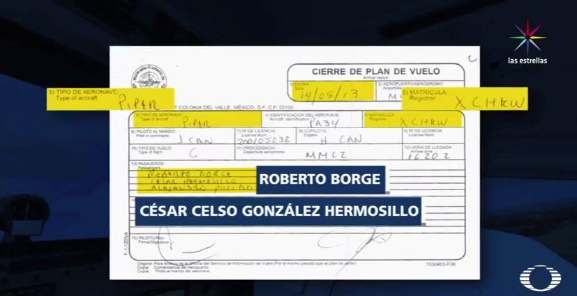 Factura de vuelo de César Hermosillo en avión de Vip Saesa