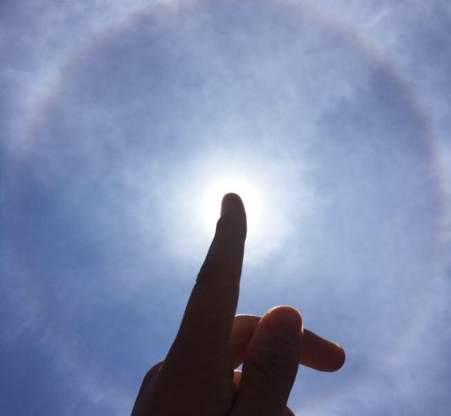 Halo solar sobre la Ciudad de México