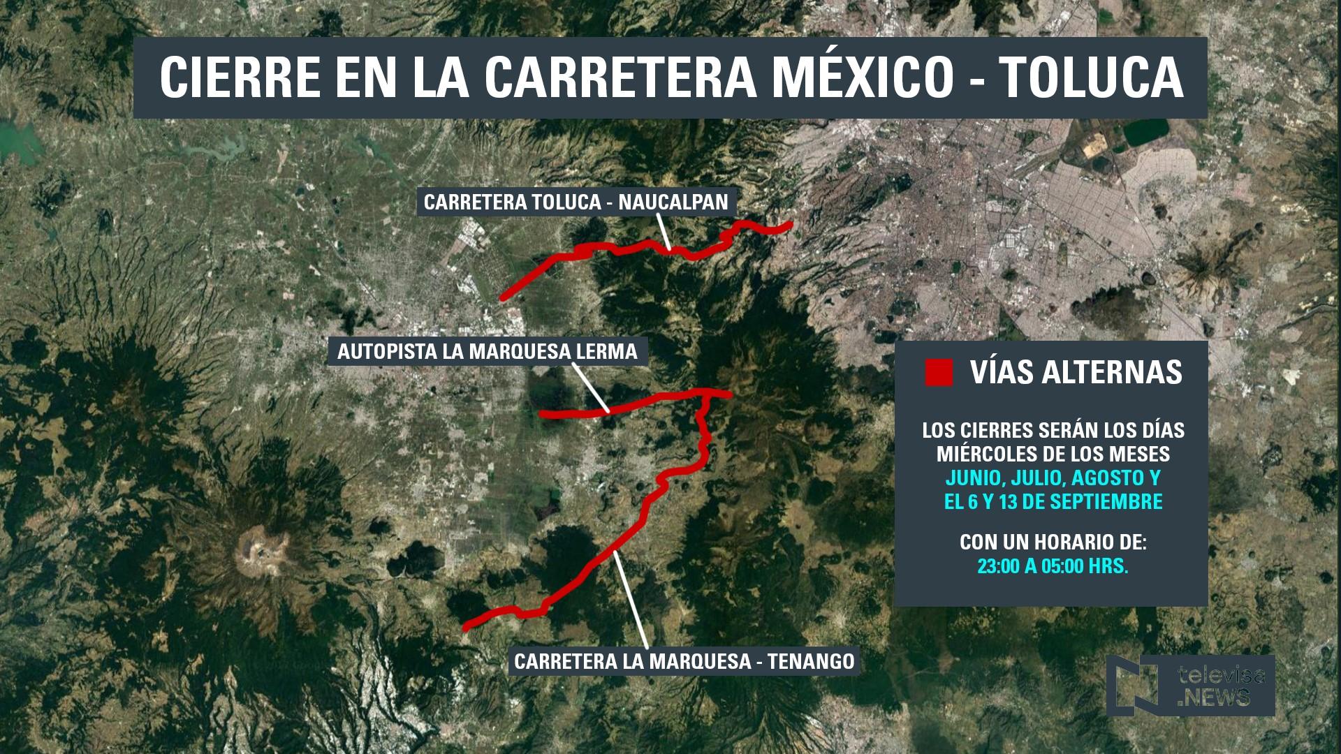 Carretera México-Toluca cerrará los miércoles por obras del Tren Interurbano