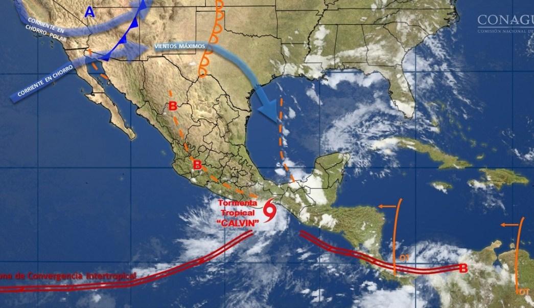 Tormenta tropical, Calvin, Toca tierra, Oaxaca, Clima, Lluvias