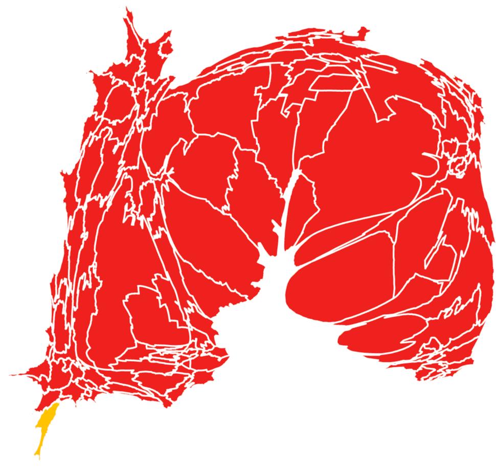 Mapa de las elecciones 2011. El rojo indica triunfo del PRI y el amarillo del PRD, Toca la imagen para verla más grande