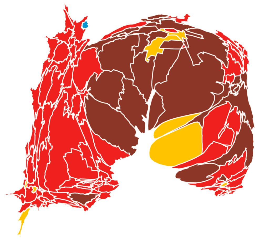 Mapa de las elecciones 2017. El rojo indica triunfo del PRI, el marrón de Morena, el amarillo del PRD y el azul del PAN. Toca la imagen para verla más grande
