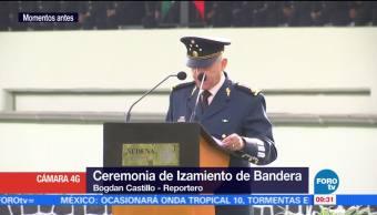 Campo Deportivo, general Salvador Cienfuegos, Defensa Nacional, Izamiento de Bandera