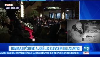 Todo listo, inicio del homenaje, José Luis Cuevas, Bellas Artes