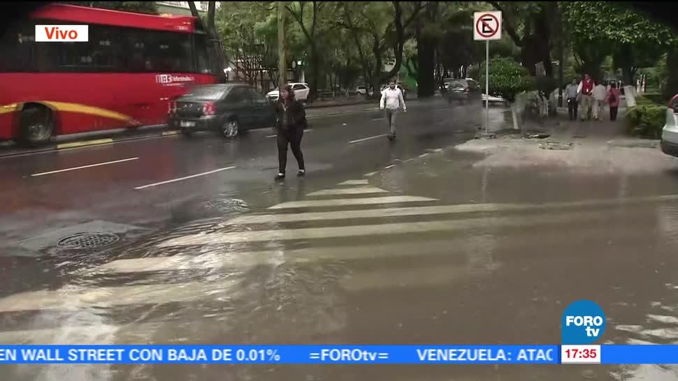 noticias, forotv, Se registran, encharcamientos, CDMX, fuerte lluvia