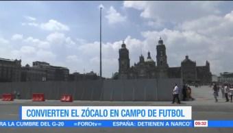 Zócalo, Ciudad de México, cancha de futbol, pasto artificial
