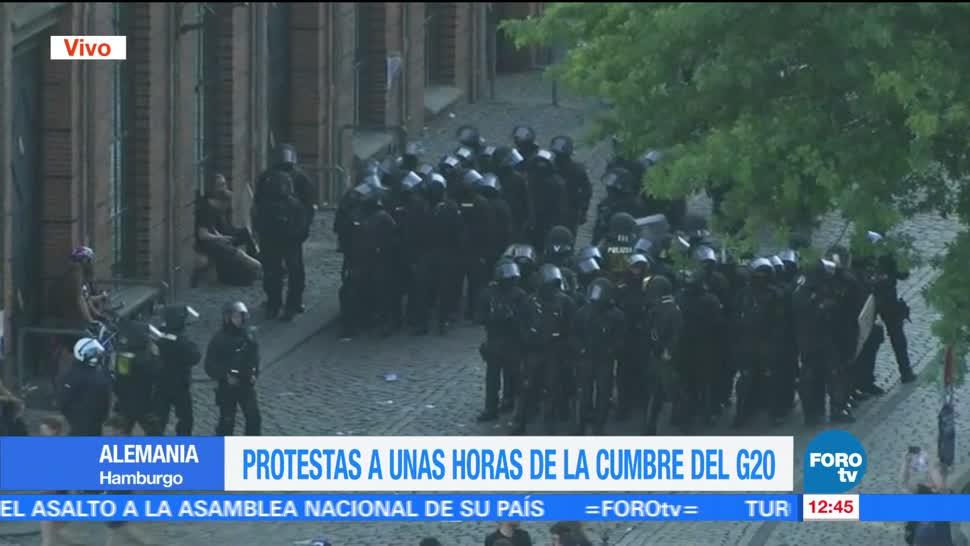Cumbre del G20, imágenes, Puerto en Hamburgo, policías, desplegados