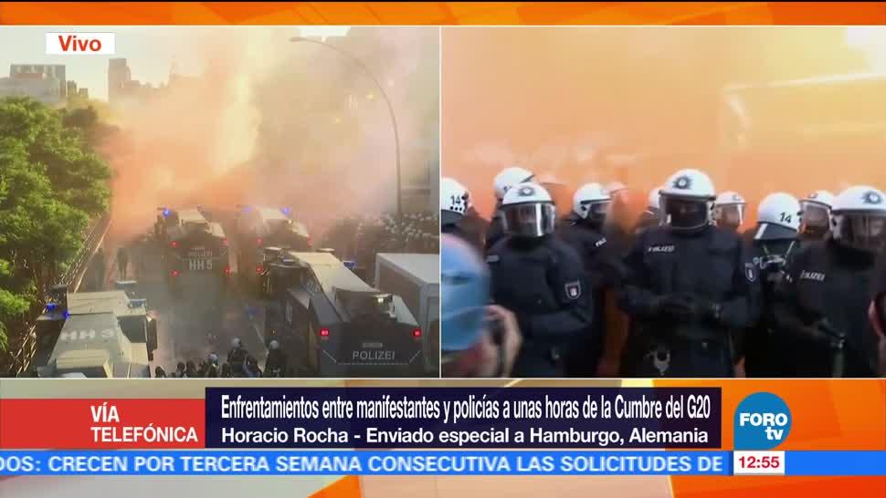 Policía de Hamburgo, cañones de agua, gases lacrimógenos, activistas, Cumbre del G20