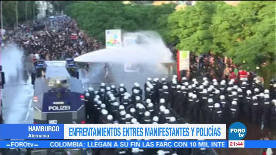 Manifestantes, policías, enfrentamiento, previo. Cumbre G20, Alemania