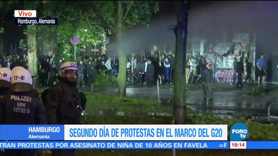 noticias, forotv, Segundo día, protestas, Cumbre del G20, Hamburgo