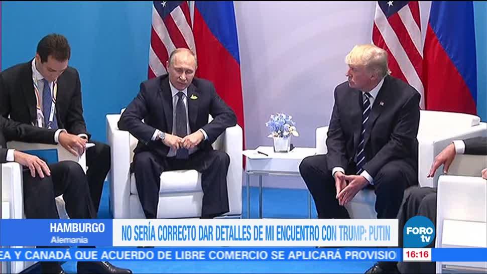 No es correcto, dar detalles, encuentro, Trump Putin, Cumbre del g20 Trump-Putin