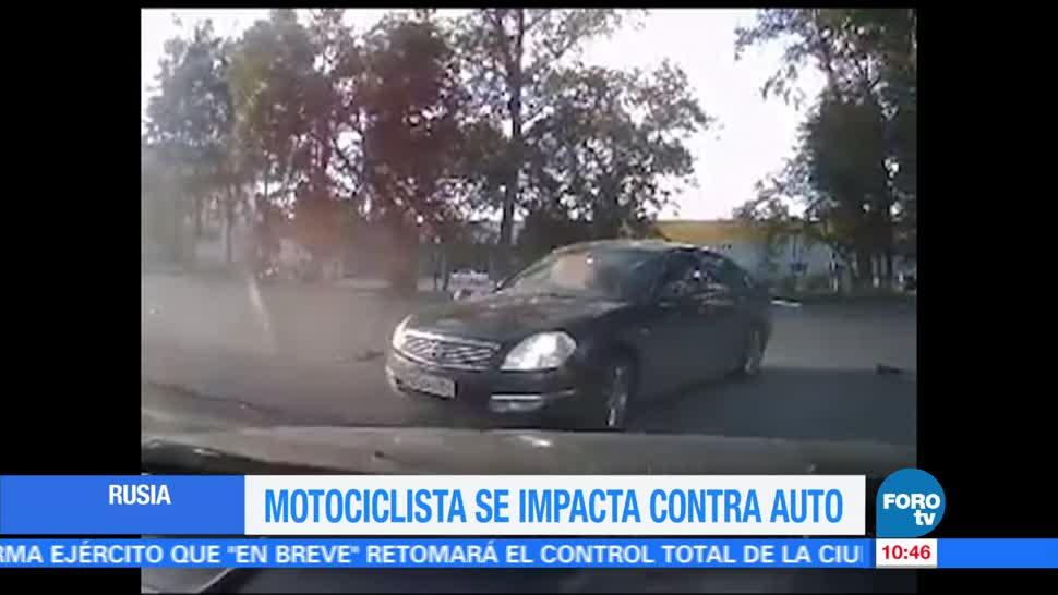 Rusia, cámara de seguridad, motociclista, automóvil