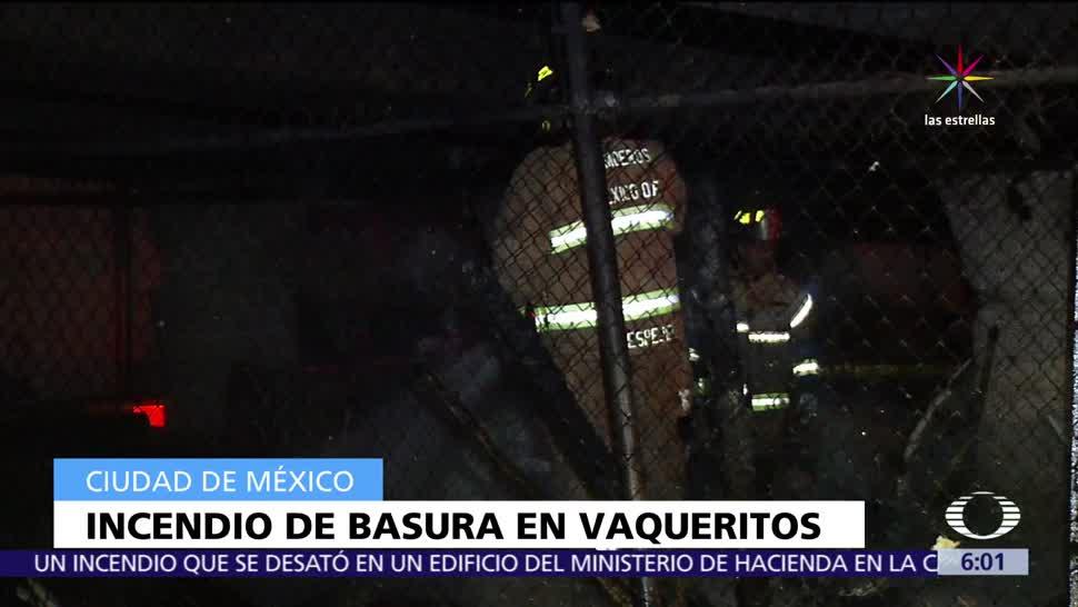 incendio de basura, cajas de plásticos, Glorieta de Vaqueritos, lesionadas