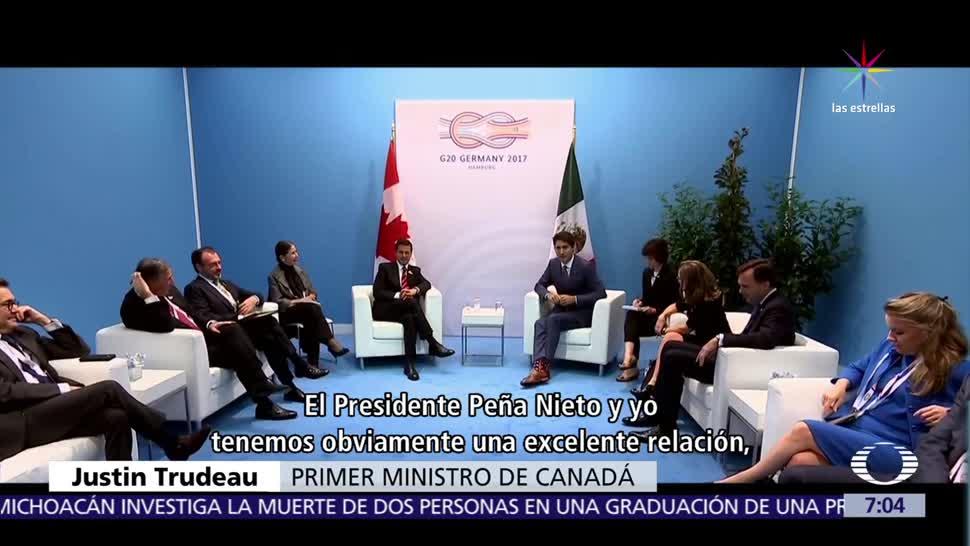 Enrique Peña Nieto, Justin Trudeau, premier de Canadá, TLC, positivo