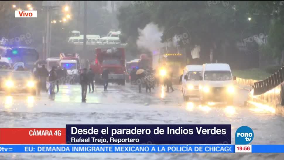 noticias, forotv, Se registran, inundaciones, inmediaciones, Metro Indios Verdes