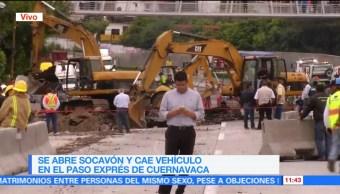 Reabren, carril, socavón, Paso Express de Cuernavaca