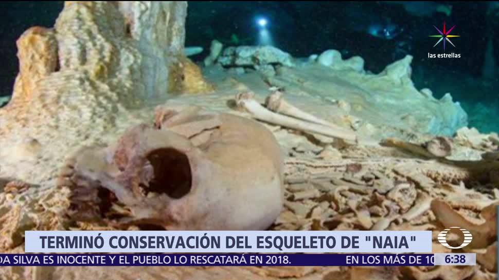 noticias, televisa, INAH, termina, trabajos de conservación, esqueleto Naia