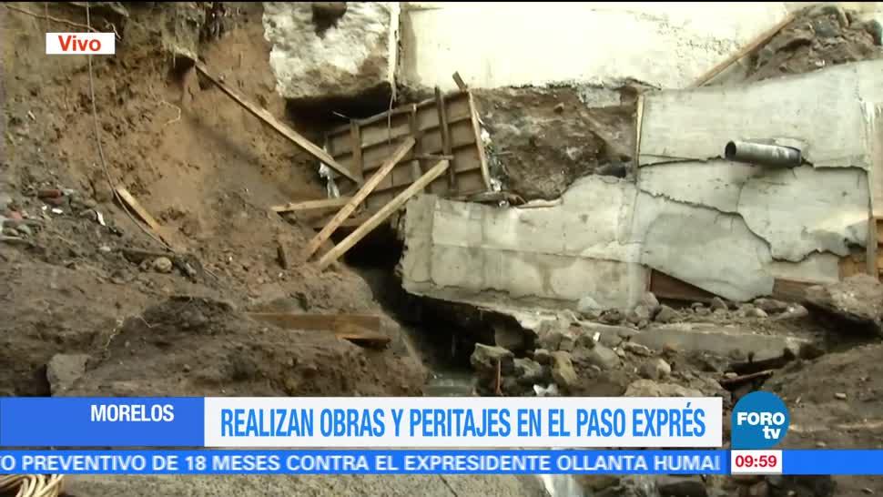 noticias, forov, Realizan, obras para rehabilitar, Paso Express de Cuernavaca, apertura de socavón