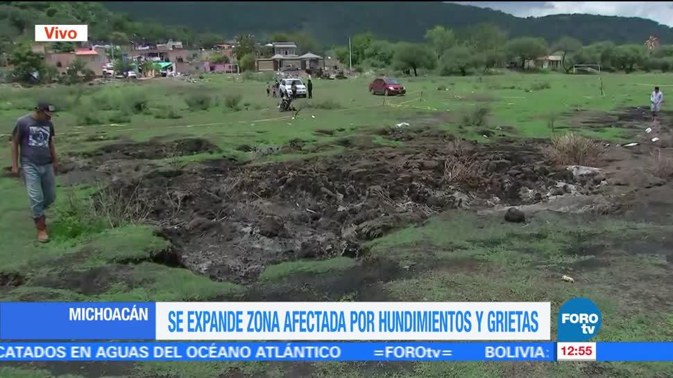 noticias, forotv, Se expande, zona afectada, hundimientos y grietas, Michoacán