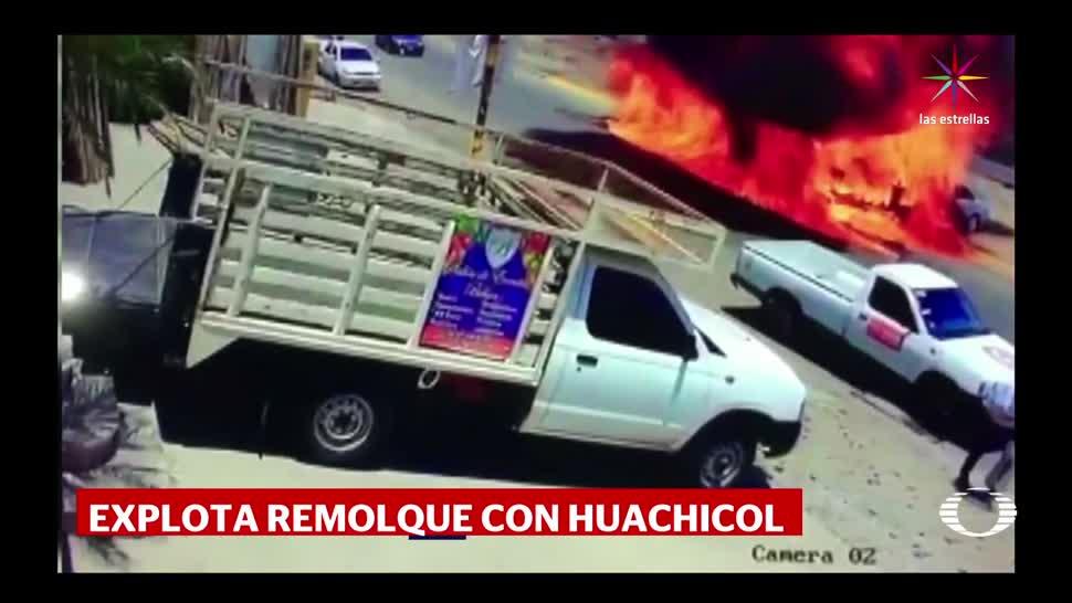 Explota, remolque, huachicol, Sinaloa, Vuelca, contenerdor gasolina