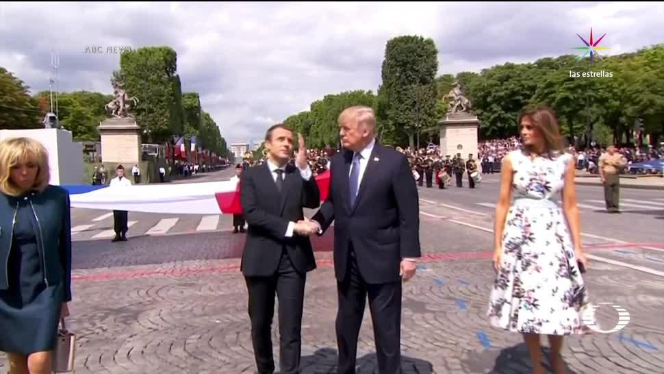 larguísimo, apretón de mano, Trump, Macron, París, desfile