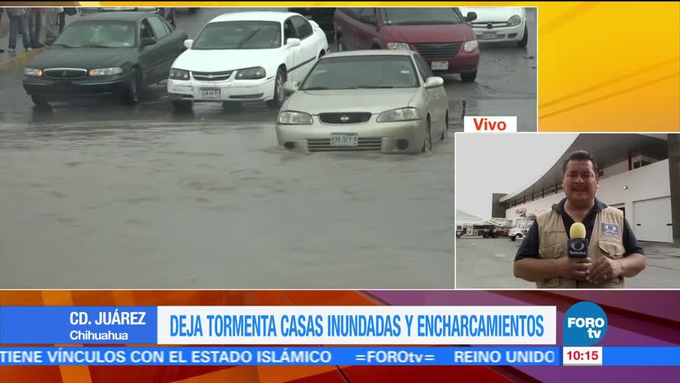 intensas lluvias, Ciudad Juárez, Chihuahua, casas inundadas, afectaciones en vialidades