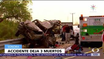 Sonora, camioneta vuelca, carretera internacional, muertos, heridos