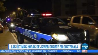 últimas horas, Javier Duarte, Guatemala