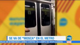 osadía de una mujer, viajar sujetada, vagones del Metro, video