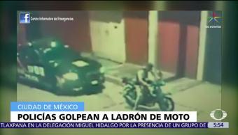 Policías, golpean a ladrón, motocicleta, CDMX
