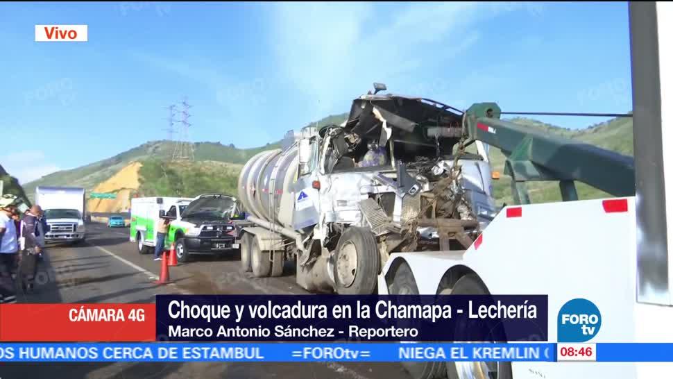 Choque, volcadura, Chamapa-Lechería, Cierran la autopista