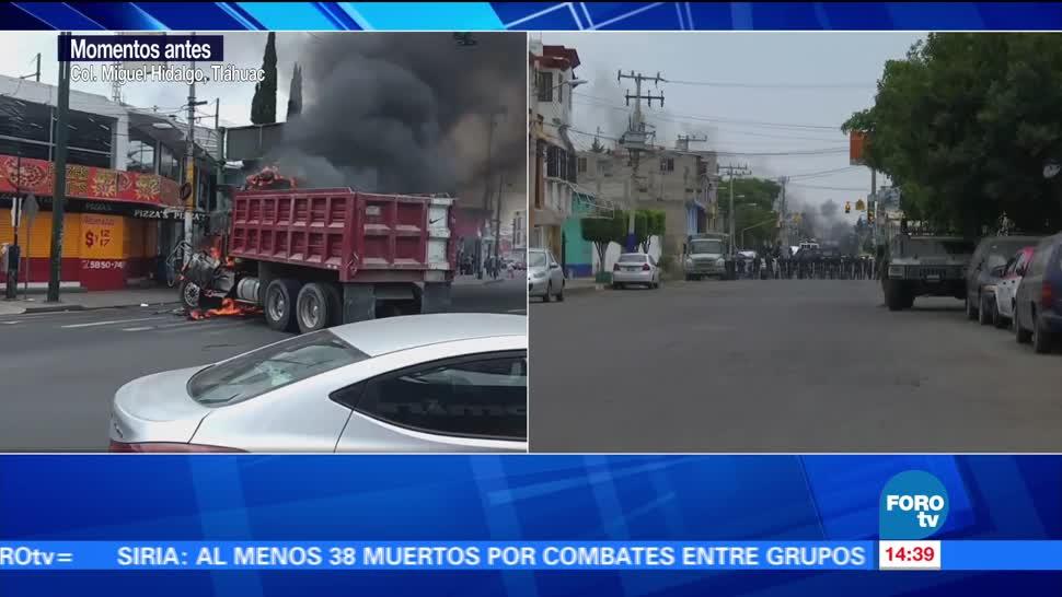 Controlan fuego de vehículo incendiado en Tláhuac
