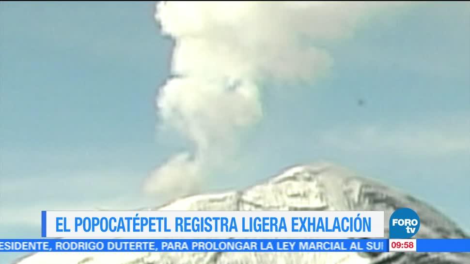 Volcan Popocatepetl, Ligera Exhalacion, Registra, Baja Intensidad