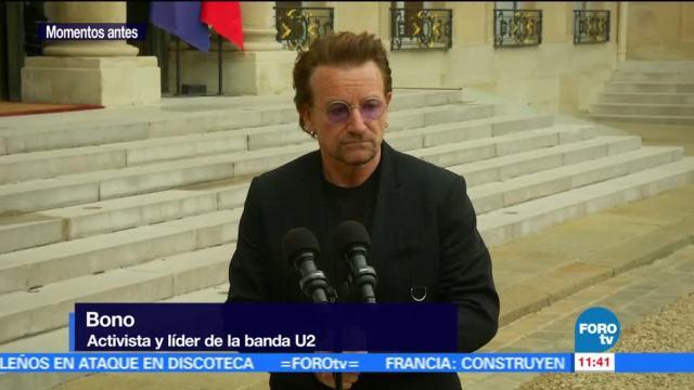 Macron Recibe Bono Palacio del Elíseo Activista