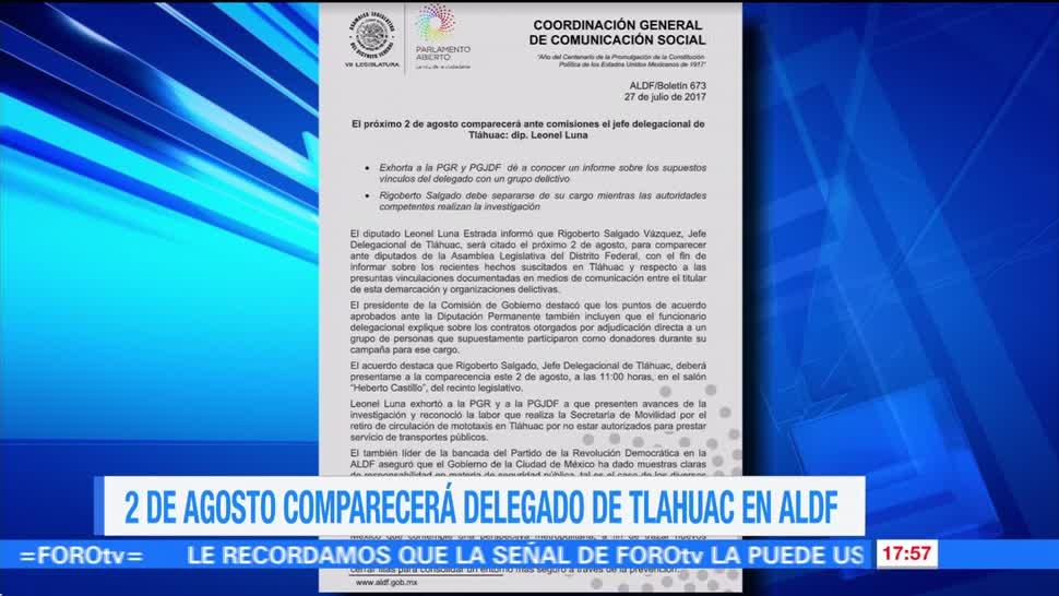 Televisa News Delegado Tlahuac Comparecer, Agosto