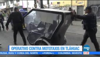 Operativo contra mototaxis en Tláhuac CDMX