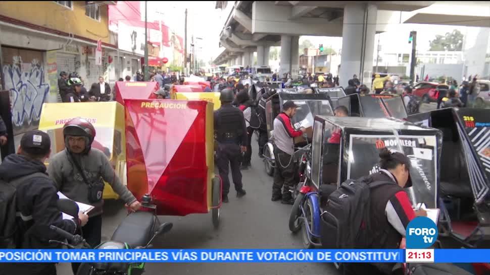 Segundo día operativos mototaxistas en Tláhuac