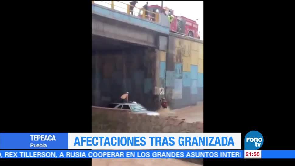 Granizada en Puebla provoca inundaciones vialidades