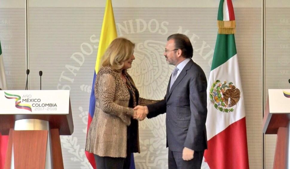 La embajadora de Colombia en México expresó el interés de continuar estrechando la relación entre ambos países. (Twitter Luis Videgaray)