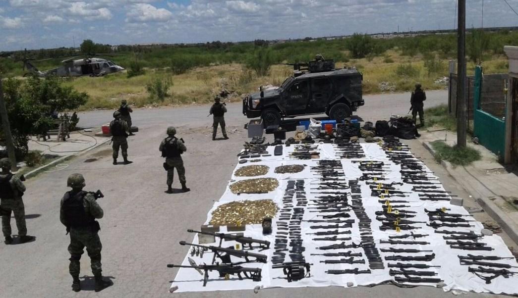 Ejército Mexicano, arsenal, cargadores, cartuchos, lanza granadas, sedena