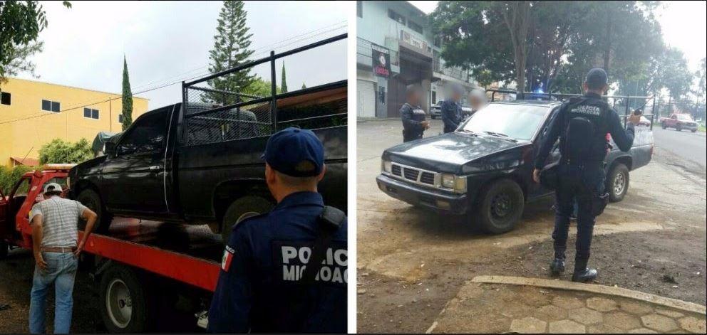 Policias estatales de michoacan decomisan varios vehiculos