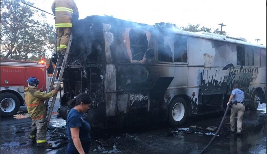 Autobus incendiado, Grupo Palomo, Accidente, Monterrey, Nuevo Leon
