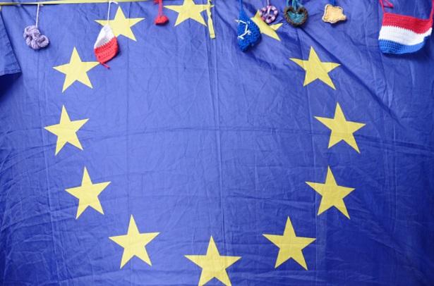 Bandera de la Unión Europea durante un manifestantes anti-Brexit en Londres, Inglaterra (Getty Images)