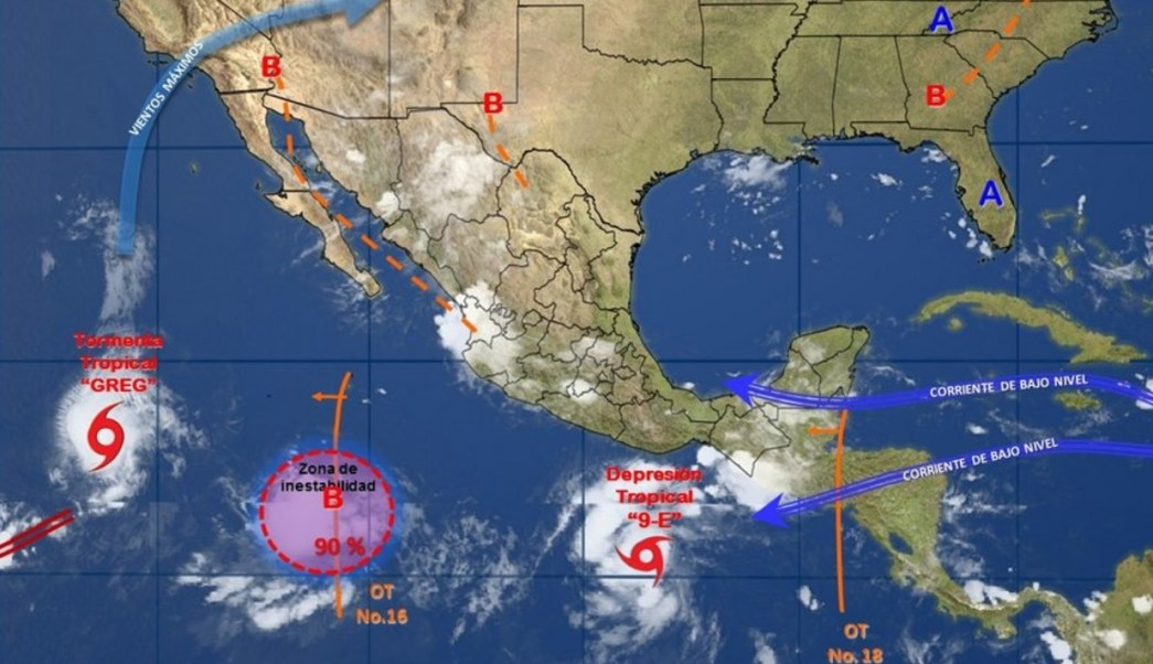 Conagua difunde una imagen de fenómenos meteorológicos en la República Mexicana (Twitter:@conagua_clima)
