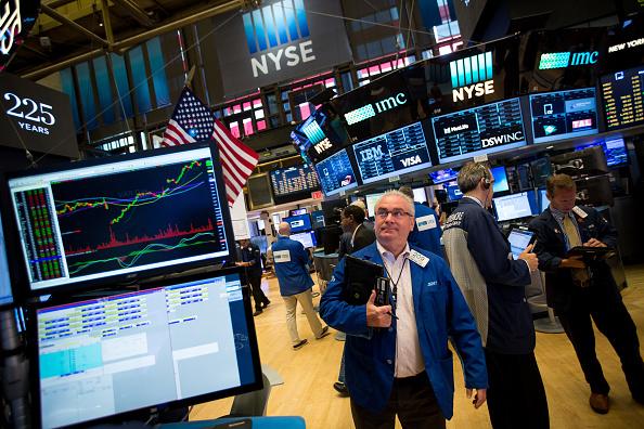 Corredor en el piso de la Bolsa de Nueva York
