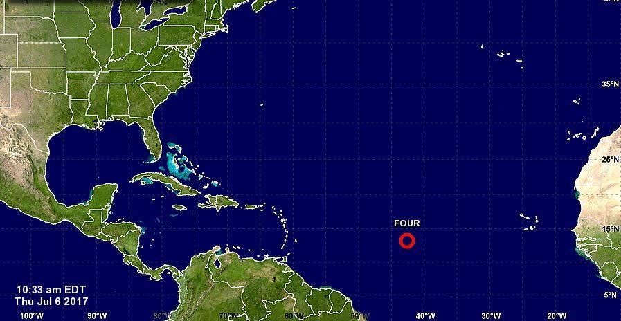 Cuarta depresión tropical del Atlántico avanza hacia las Antillas