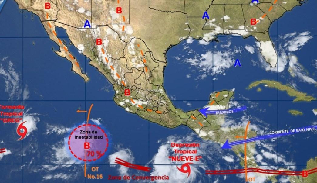 Depresión Tropical Nueve-E se encuentra frente a Chiapas. (Conagua)