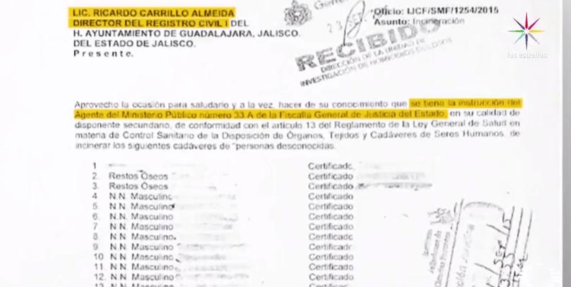 Documento donde se solicita autorización para incinerar cuerpos no identificados en Jalisco