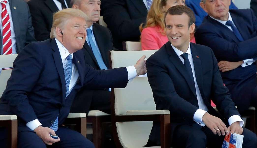 Donald Trump y Emmanuel Macron en desfile de la Bastilla