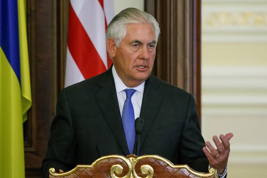 El secretario de Estado estadounidense, Rex Tillerson, en Kiev, Ucrania (Reuters)